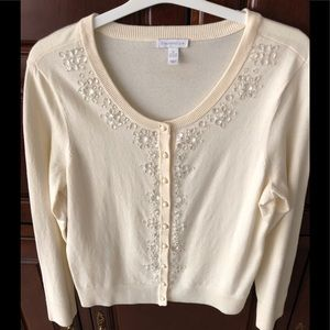 Charter Club Ivory decorative beading sweater
